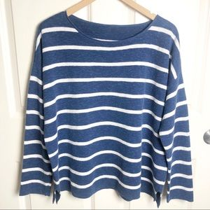 Eileen Fisher Blue and White Striped Sweater L/XL